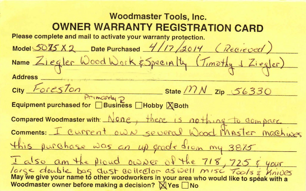 Tim's Warranty Card