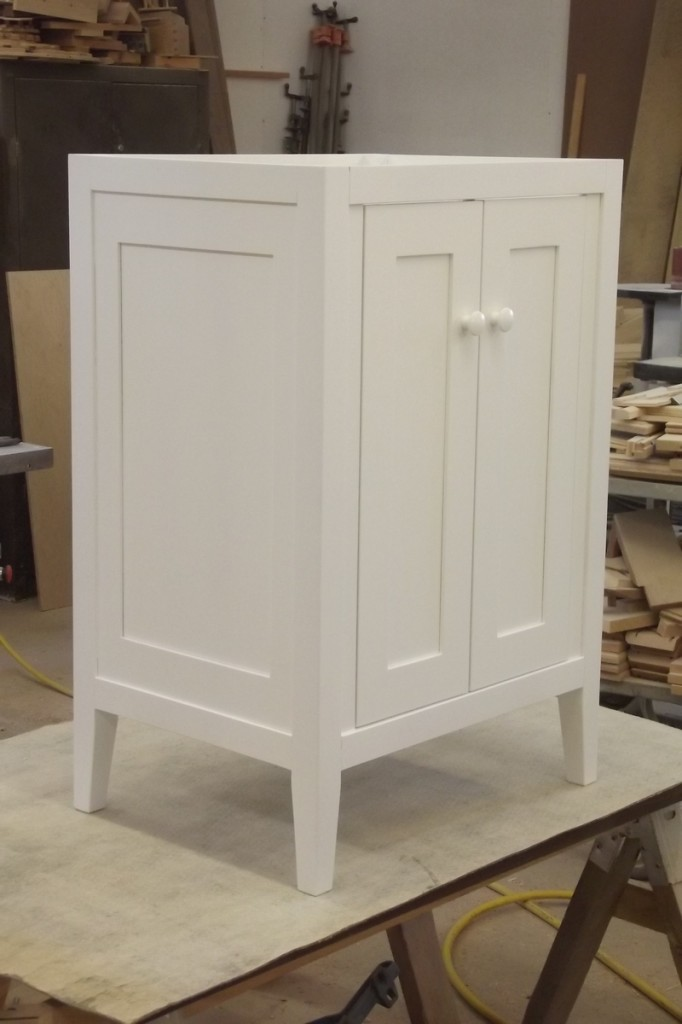 warm white lacquered shaker vanity
