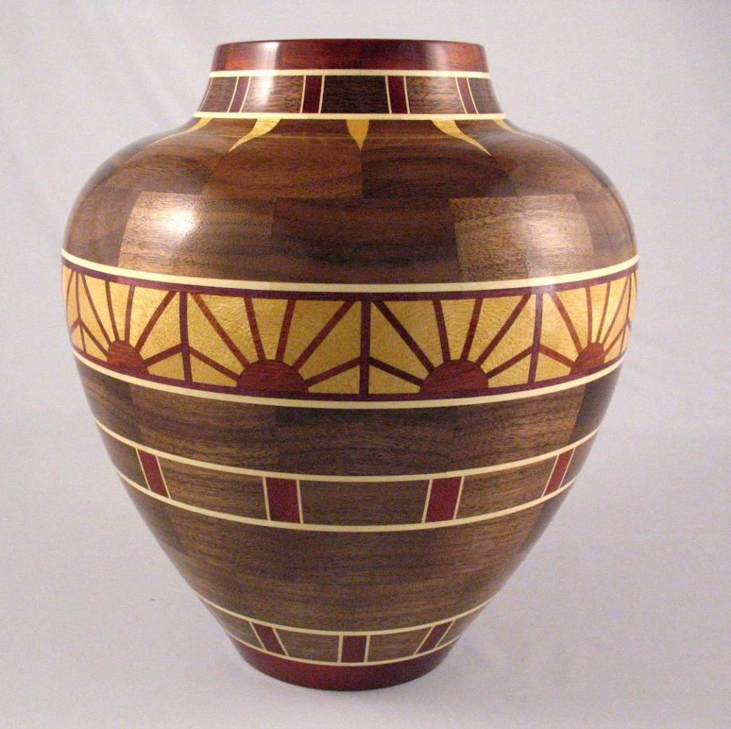 Segmented woodturning is precision work so he got a woodmaster pete markens rising sun vase is 9 12 diameter x reviewsmspy
