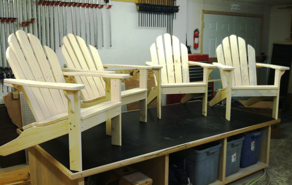Besides cabinetry, Jeff builds handsome Adirondack chairs with his Woodmaster Drum Sander. This style chair, with slanted seat and back, is both handsome and comfortable.
