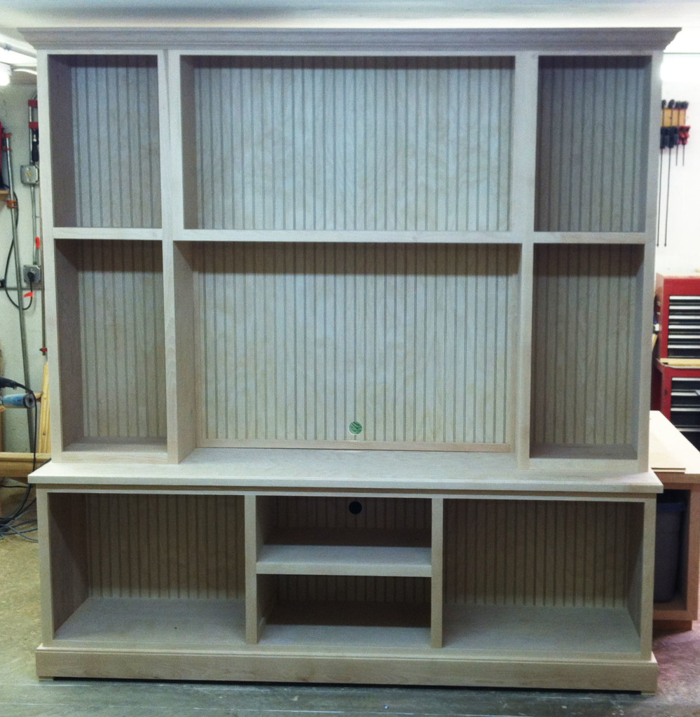 Here's a handsome entertainment center ready for installation. Jeff does all manner of cabinetry — kitchens, bathrooms, closets, more.
