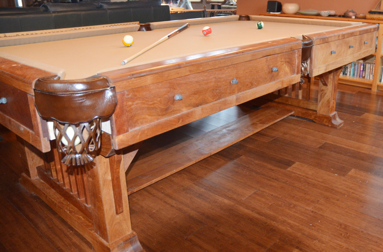 chucku0027s pool table is a beauty his woodmater drum sander and woodmaster - How To Make A Pool Table