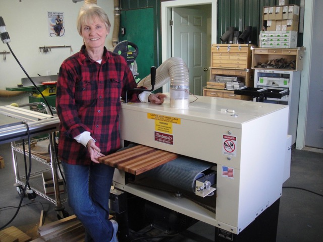 Caroline Spurgeon has made over 3,000 weaving looms with her Woodmaster Drum Sander