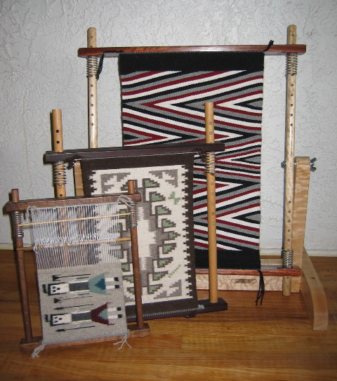 "Caroline told us, ""I designed my looms to make Navajo-style miniature rugs. I have always loved the designs found in Navajo rugs and started weaving them in the 1970's. Now my looms are used for any tapestry style weavings."" The looms come in three sizes. The smallest is 12"" x 15"". The medium is 17"" x 22"" and the large is 27"" x 30. I've made them in a variety of woods. The ones pictured are walnut, African padauk, and bird's eye maple."