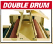 Double drums - that's 2 drums, side by side. 3 sanding options: 1) Sand with 1 drum, 2) or the second drum 3) or BOTH drums for primary and secondary sanding in a single pass.