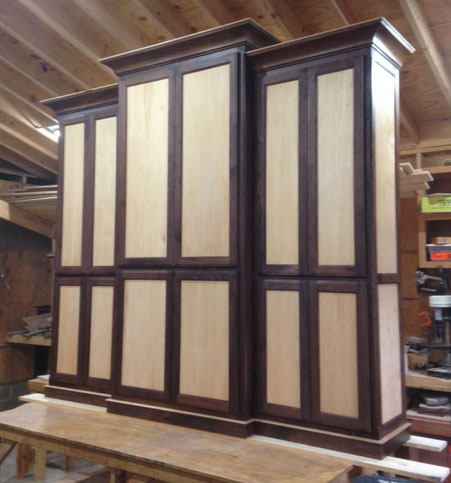 This impressive Credenza was made to match the maple and walnut desk above.