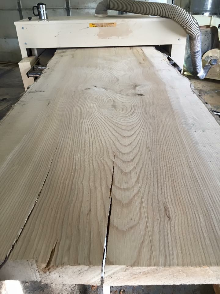 "Matt has 50"" of sanding width to accommodate extra-wide slabs like this one... and he uses every inch"