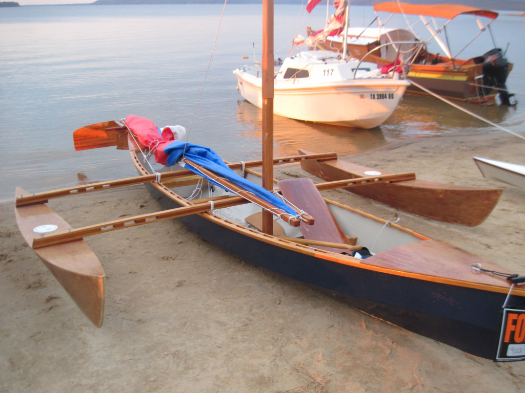 John Owens is a skilled boatbuilder. Here's his outrigger boat, Eureka