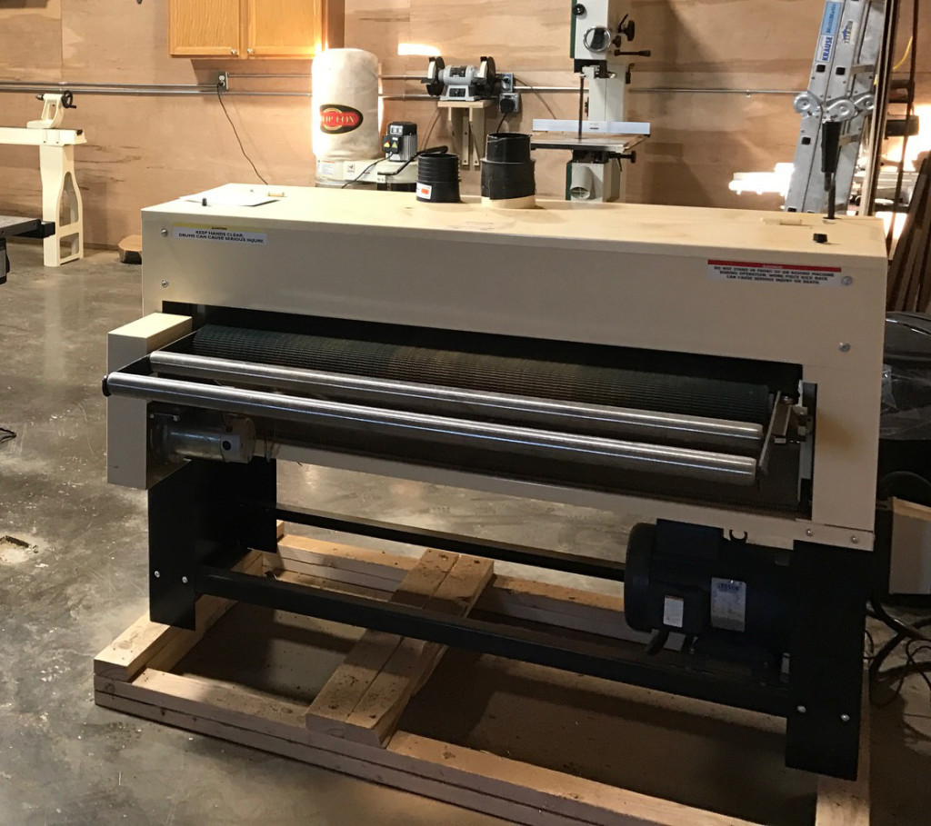 "...And here's the sander Andrew Bishop chose: a 50"" Woodmaster Drum Sander."