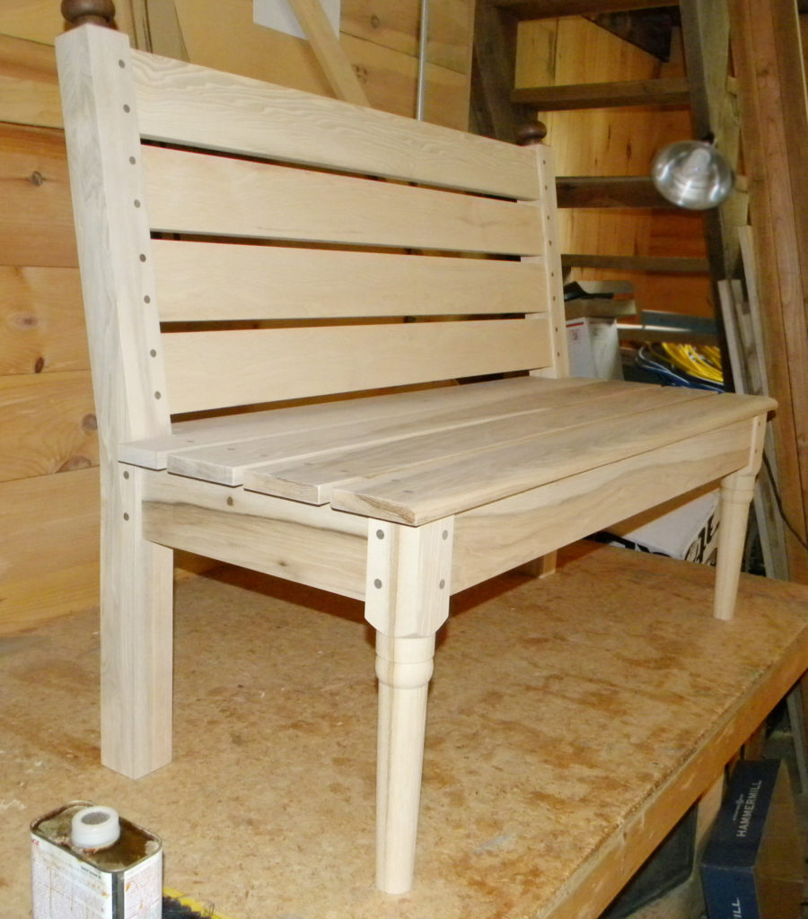 The slat hickory bench was made for the lobby of my son's business; there are lots of mortise and tenon joints. The hickory had been milled 50 or 60 years earlier and was just waiting for someone to use it.