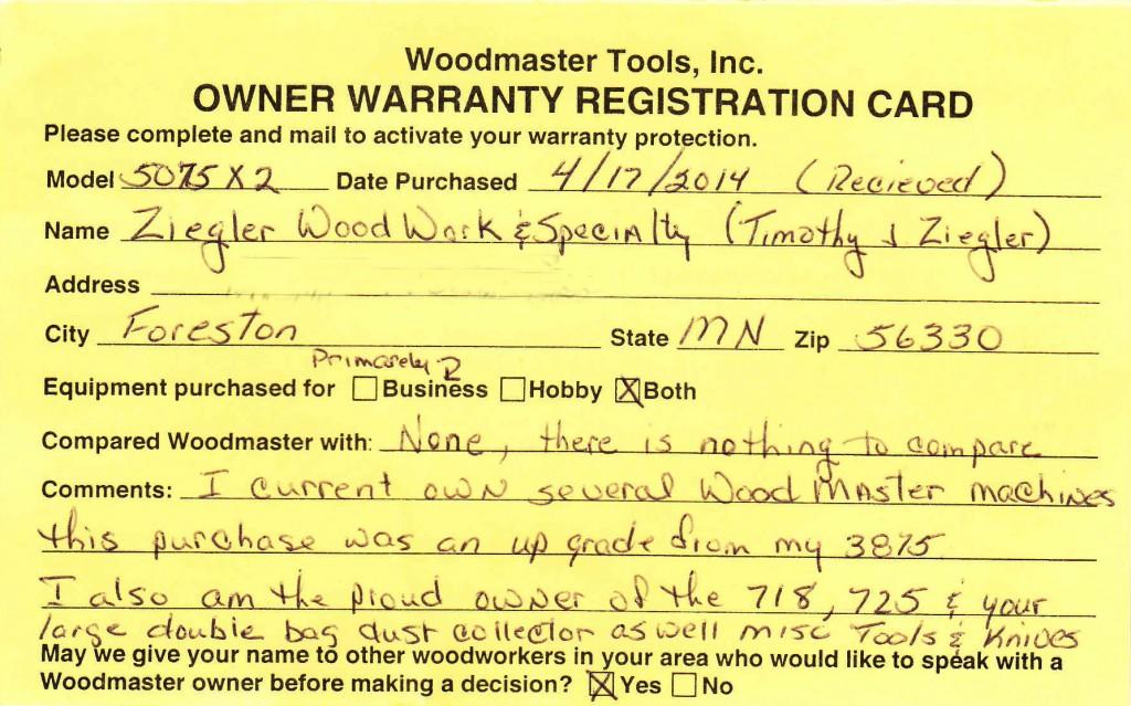 Tim's Warranty Card
