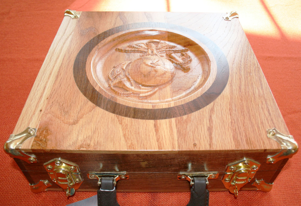 """The Yanneys may have started with no woodworking experience but they certainly have it now. They used their CNC router to carve the Marine Corps logo, """"But the wood must be flat first,"""" says Russell. """"Getting wood truly flat without the Woodmaster Drum Sander is impossible."""""""