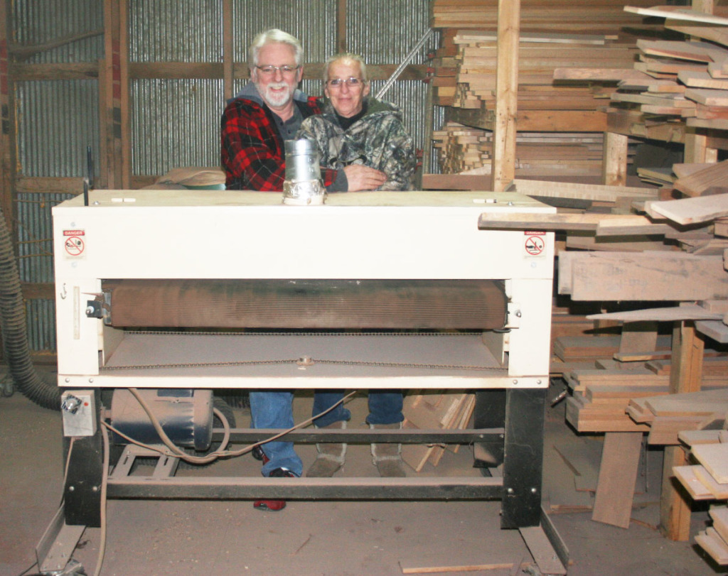 Meet Russell and Beverly Yanney with their Woodmater Drum Sander!