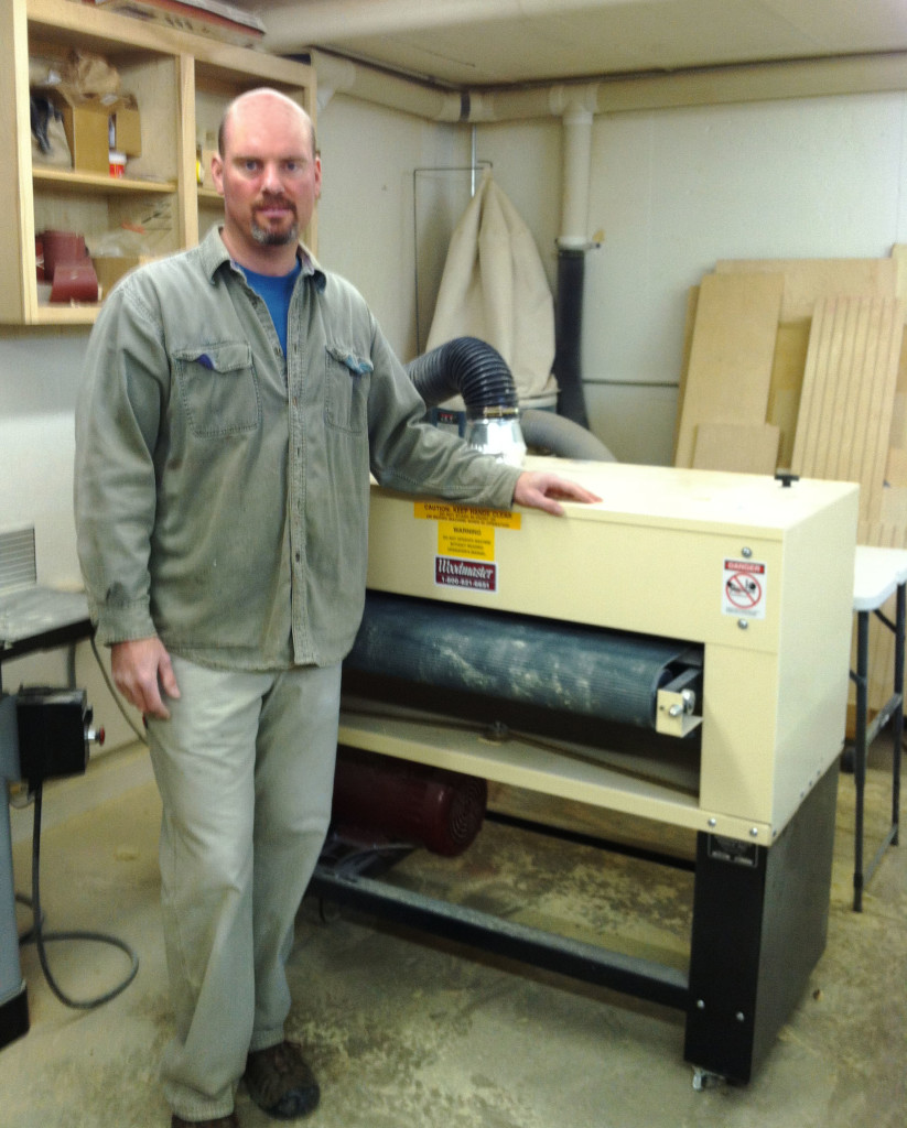 Jeff Rhone's running a great business from a small wood shop — just 600 sq. ft. He put his Woodmaster on casters so he can tuck it out of the way between sanding tasks.