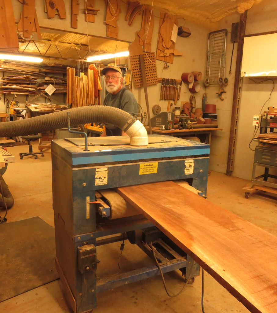 You'll usually find John at work in his shop. He owns an older, dark color Woodmaster Drum Sander. It's at least 20 years old and still works for a living.
